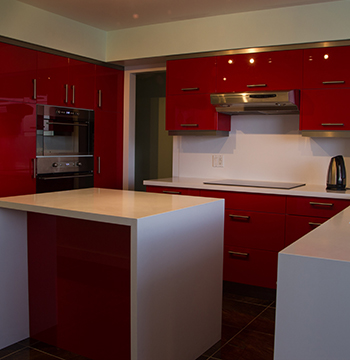 High Gloss Red Acrylic Kitchen Cabinet Doors